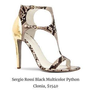 Sergio Rossi Multicolor Python Clonia Sandals